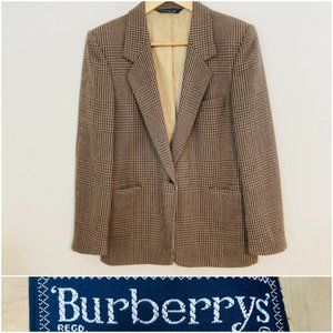 Vintage Burberry Houndstooth Lambswool Blazer